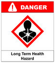 Long term health hazard, man in red rhombus symbol. Danger banner for factory. Vector illustration.