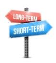 Long-term, short-term road sign illustration Royalty Free Stock Photo