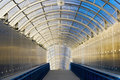 Long tunnel with glass ceiling Royalty Free Stock Photography
