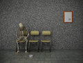 Long wait humorous illustration depicting a skeleton apparently having waited for too in a waiting room Royalty Free Stock Photos