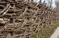 Long wattle fence Royalty Free Stock Photo