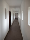 Long White Corridor.White Exhibition Hall Royalty Free Stock Photo