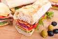 Long white wheat baguette sandwiches Royalty Free Stock Photo