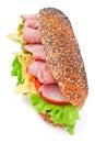Long whole wheat baguette sandwich Royalty Free Stock Photos