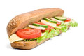 Long Whole Wheat Vegetarian Sandwich Royalty Free Stock Photo