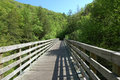 The long wooded bridge that leads to other side Royalty Free Stock Photo