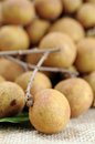 Longan a bunch of juicy and delicious on burlap Stock Images