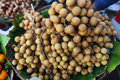 Longan fruit bunches on the food market in Southea Royalty Free Stock Image
