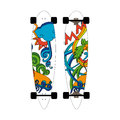 Longboard depicting doodles on a summer theme Royalty Free Stock Photo
