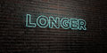 LONGER -Realistic Neon Sign on Brick Wall background - 3D rendered royalty free stock image