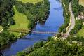 Longest wooden bridge in Europe- Essing, Bavaria, Germany-river Altmuehl Royalty Free Stock Photo