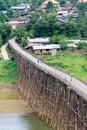 Longest wooden bridge in thailand at sangkhlaburi Royalty Free Stock Images