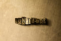 LONGITUDE - close-up of grungy vintage typeset word on metal backdrop Royalty Free Stock Photo