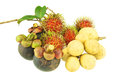 Longkong rambutan and mangosteen sweet fruit isolated Royalty Free Stock Photo