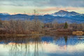 Longs Peak from Golden Ponds Stock Photo