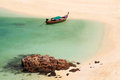 Longtail boat on beach coast ,Thailand Stock Photos