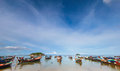 Longtail boat and beautiful ocean with blue sky of Koh Lipe island, Thailand Royalty Free Stock Photo