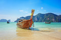 Longtail boat in the beautiful sea over clear sky phi phi island Royalty Free Stock Photography