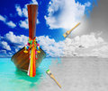 Longtail boat on the sea tropical beach beautiful image andaman thailand Royalty Free Stock Photo