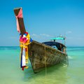 Longtail boat at the tropical beach in andaman sea thailand Royalty Free Stock Photo