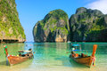 Longtail boats anchored at Maya Bay on Phi Phi Leh Island, Krabi Royalty Free Stock Photo