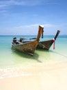 Longtail boats at the beach, Andaman, Thailand. Royalty Free Stock Photo