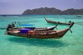 Longtail boats in phi phi islands thailand Stock Photos