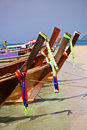 Longtail boats tropical island near phuket thailand Stock Photos