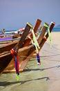 Longtail boats tropical island near phuket thailand Stock Photos