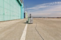 Lonley luggage on the runway corporate travel Stock Photography