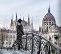 Lonley man standing on the bridge in budapest Stock Image