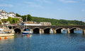 Looe bridge cornwall england over east river harbour Royalty Free Stock Image