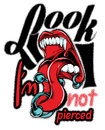 Look i am not pierced illustration showing a tongue Stock Photography