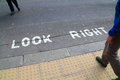 Look Right sign in a London street Royalty Free Stock Photo