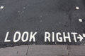 Look right sign, London street Royalty Free Stock Photo