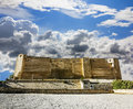 Look at the wall of the castle Kasbah in Sousse Tunisia amid dramatic cloud heaven Royalty Free Stock Photo