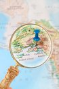 Looking in on anchorage alaska usa blue tack map with magnifying glass it s capital Royalty Free Stock Images