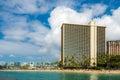 Looking back at Waikiki Beach and Hilton Hotel Royalty Free Stock Photo
