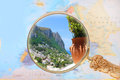 Looking in on capri island italy map of europe with magnifying glass europe Stock Photo