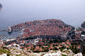 Looking down dubrovnic overlooking the walled city of croatia from the heights above the city Royalty Free Stock Images