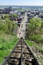 Looking Down the Fenelon Place Elevator Tracks Royalty Free Stock Photo