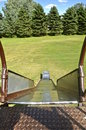 Looking down an old slippery slide Royalty Free Stock Photo