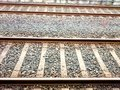 Looking down the train tracks. Royalty Free Stock Photo