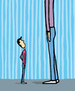 Looking at giant guy cartoon illustration of a small up to the bigger Royalty Free Stock Images