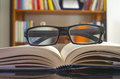 Looking glasses on an open book Royalty Free Stock Photo