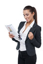 Looking happy and satisfied smiling businesswoman reading newspaper Stock Images