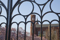 Looking through the iron gate into the springtime gardens of the smithsonian institution in washington d c photo made march Stock Images