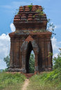 Looking through one of the banh it cham towers vietnam blue skies as seen Stock Images