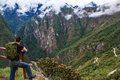 Looking out at the mountains from Machu Picchu Royalty Free Stock Images