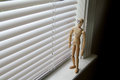 Looking out window on an overcast day wooden man through blinds Stock Photos